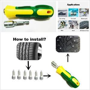 100Pcs Car Tire Screw Stud Snow Spikes Wheel Tyres Snow Chains Studs+Sleeve Tool