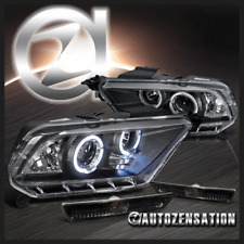 2010-2014 Ford Mustang Black Halo LED Projector Headlights+Smoke Bumper Lights