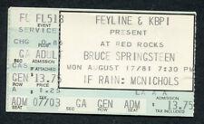 Bruce Springsteen 1981 The River Tour Concert Ticket Stub Red Rocks Colorado