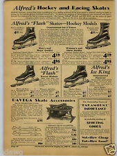 1931 PAPER AD 2 PG Alfred's Flash Davega 20Th Century Hockey Ice Skates King