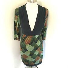 Skunkfunk Dress Green Brown 3/4 Sleeve Stretch Knit Leaf Print V-Neck