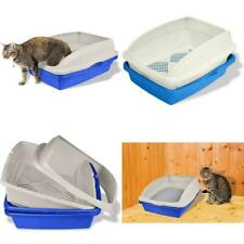 Sifting Cat Litter Box with Frame 3 Part Pet Cleaning, Blue/Gray Large Tray