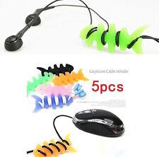FD1595 Fish Bones Earphone Headphone Cable Cord Organize Wrap Wind Random 5PCs