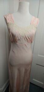 Vintage Laros Rayon 170 Full Slip Gown 34 Blush Pink Lace Nightgown
