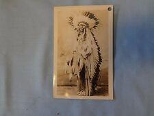 Vintage Antique RPPC photo postcard Indian Chief Jerome Elk Sioux Mandan ND asis