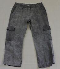 EILEEN FISHER 100% LINEN Sz 4 Gray Heather Crop Cargo Pants EXC