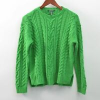 Lauren Ralph Lauren Cable Knit Crew Neck Sweater Green Womens Medium M