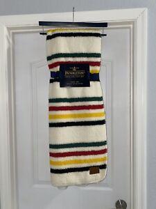 "Pendleton Glacier Park Sherpa Fleece Throw Blanket 50"" x 70"" Ivory Stripe"