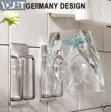 YOULET 2pcs 304 Steel self Adhesive glass holder rack Tooth Mug TOOTHBRUSH