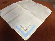 Vintage 11� Cream Hankie Hand Sewn and Embroidered Decoration Perky Flowers