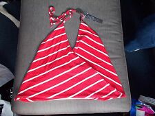 Poof Apparel Cotton Blend Cross Over V-Neck Tie Halter Top M 14-16 Red Mix BNWT