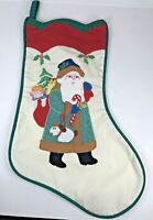 Vintage Christmas Stocking House of Hatten Santa with Puppy and Bag of Toys