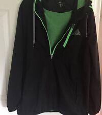 Adidas Black Rain Jacket Wind Breaker with Hood Size Large Green Trim EUC