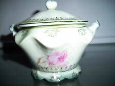 VINTAGE NIPPON SUGAR BOWL with LID Hand Painted Roses VG condition
