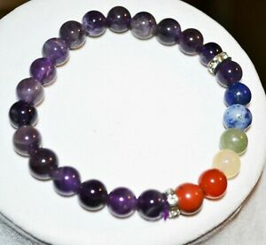 7 Chakra Stones Balancing Bracelet Amethyst Rhinestone Womens Artisan Jewelry