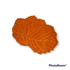 Corduroy orange Leaf Placemats (6) Autumn Boho 70s
