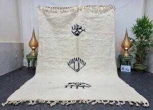 "Moroccan Handmade Beni Ourain Rug 6'5""x9'6"" Berber Abstract White Black Wool Rug"