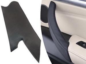 For BMW X5 X6 E70 2006-2013 Carbon Fiber Interior Door Handle Leather Pull Trim