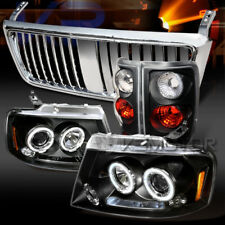 04-08 F150 Black Halo LED Projector Headlights+Tail Lamps+Chrome Grille