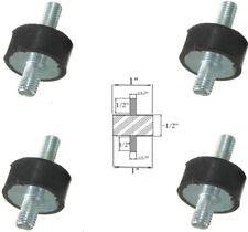 "4 Rubber Vibration Isolator Mounts (1"" Dia x 1/2'' Thk) 1/4-20 x 1/2"" Long Stud"