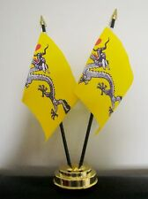 CHINESE DRAGON X 2 TABLE FLAG SET flags plus GOLDEN BASE