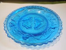 WESTMORELAND GLASS BLUE CUP PLATE-THE WEDDING DAY & THREE WEEKS AFTER-