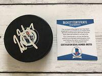 Milan Lucic Signed Autographed Edmonton Oilers Hockey Puck Beckett BAS COA c