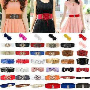 Women Elastic Metal Buckle Stretch Waist Belt Ladies Wide Band Dress Waistband