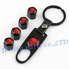 Key chain Metal Car Wheel Tyre Tire Stem Air Valve Cap For Vivid Red Punisher