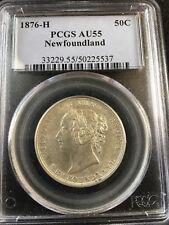 1876H, PCGS Graded Newfoundland Silver 50 Cent, **AU-55**