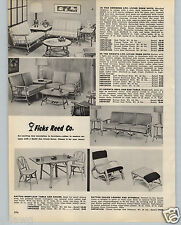 1959 PAPER AD Ficks Reed Co Rattan Furniture Living Room Suite Love Seat Sofa