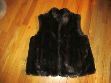 Women's Worthington Reversible Vest Black/Fake Fur Size L Very Good Condition