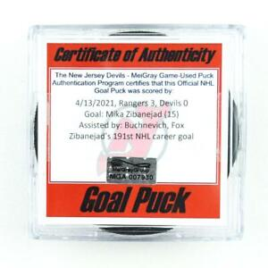 2020-21 Mika Zibanejad New York Rangers Game-Used Goal-Scored Puck -Fox Assist