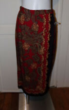 Talbots Skirt Midi 100% Silk Red Paisley Faux Wrap Side Button Size 10