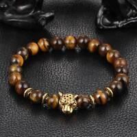 Gold Leopard Head Bead Buddha Bracelet Natural Tiger Eye Men Women Bracelets