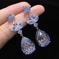 Gorgeous White Sapphire Water Drop Dangle Earrings 925 Silver Wedding Jewelry