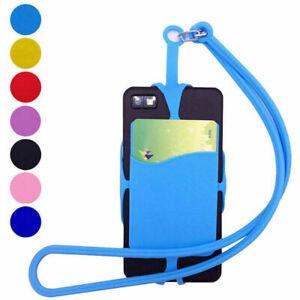 Universal Phone Silicone Lanyard Case Cover Holder Sling Necklace Wrist Strap UK