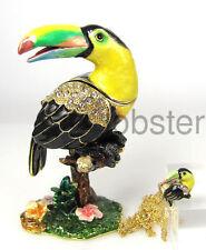 COLORFUL TOUCAN BIRD FINE ENAMEL CRYSTAL TRINKET BOX includes pendant necklace