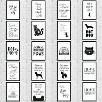 Cat Dog Animal Pet Lover Wall Quote Art Print Room Home Decor