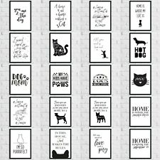Cat Dog Animal Pet Lover Wall Quote Art Print Pictures Room Home Decor