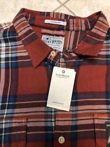 Lucky Brand Mens Classic Fit LS Saturday Stretch Red/Blue Plaid Shirt XL NWT