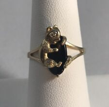 PSCO Vintage Onyx/ Diamond Eye Panda Bear Ring/ 10k Yellow Gold/ Sz 7.5