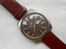 RARE VINTAGE 1970'S BROWN DIAL SS SEIKO 5 6119-8490 GENTS AUTOMATIC WRISTWATCH