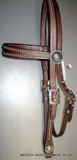 CHOCOLATE BRIDLE LEATHER HEADSTALL-JEREMIAH WATT BUCKLES&CONCHOS-SPOTS-USA MADE