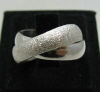 STYLISH STERLING SILVER RING SOLID 925 DOUBLE BAND LASER FINISHED SIZE H - Z++