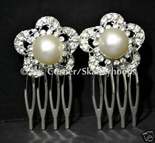 2PC IVORY PUFFY PEARL FLOWER MINI COMB BRIDAL FORMAL FLOWER GIRL (FREE SHIPPING)
