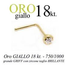 Piercing da naso nose ORO GIALLO 18kt. GRANDE griff ZIRCONE yellow GOLD