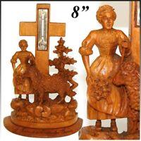 Antique Black Forest Thermometer Stand, Woman & Lamb, Amelie-les-Bains Souvenir