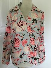 Boutique Forever 22 Misses M/M Lt Green & Pink Floral Jacket Double Breasted