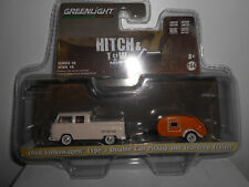 VOLKSWAGEN T2 TYPE 2 DOUBLE CAB PICK UP + TEARDROP TRAILER GREENLIGHT 1/64